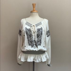 Parker ivory silk embroidered poet peasant top